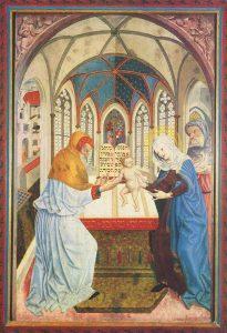 """""""Herr, nun lässt du deinen Diener in Frieden fahren."""" Darbringung Jesu im Tempel. Meister der Pollinger Tafeln. Germanisches Nationalmuseum Nürnberg."""