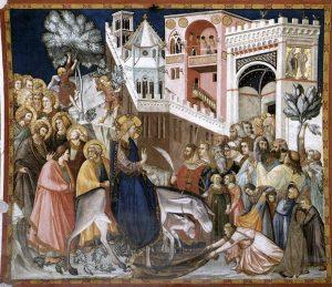 Pietro Lorenzetti: Einzug Christi in Jerusalem. Fresko aus der Basilica inferiore di San Francesco d'Assisi.