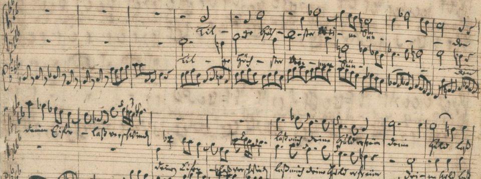 BWV 1083: Ausschnitt des ersten Satzes, Particell von J.S. Bach, 1745/1746