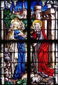 Maria besucht Elisabeth (Mariae Heimsuchung). Ulmer Münster, Werkstatt des Peter Hemmel von Andlau, um 1480.