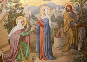 Magnificat. Mosaik in der Rosenkranz-Basilika in Lourdes
