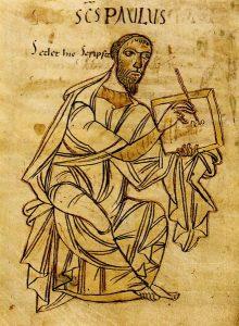 Paulus, Illustration einer Handschrift aus dem frühen 9. Jahrhundert, vermutlich St. Gallen