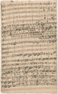 """Johann Sebastian Bach: Kantate Nr. 47 """"Wer sich selbst erhöhet, der soll erniedriget werden"""".  Erster Satz, Seite 4 der Originalhandschrift"""