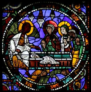 Die drei Marien am Grab, Glasmalerei um 1150, Westfenster Kathedrale zu Chartres.