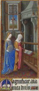 Magnificat anima mea Dominum: Maria und Elisabeth. Buchmalerei aus dem Stundenbuch des Herzogs von Berry.