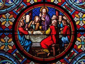 Das letze Abendmahl. Glasfenster im Basler Münster.