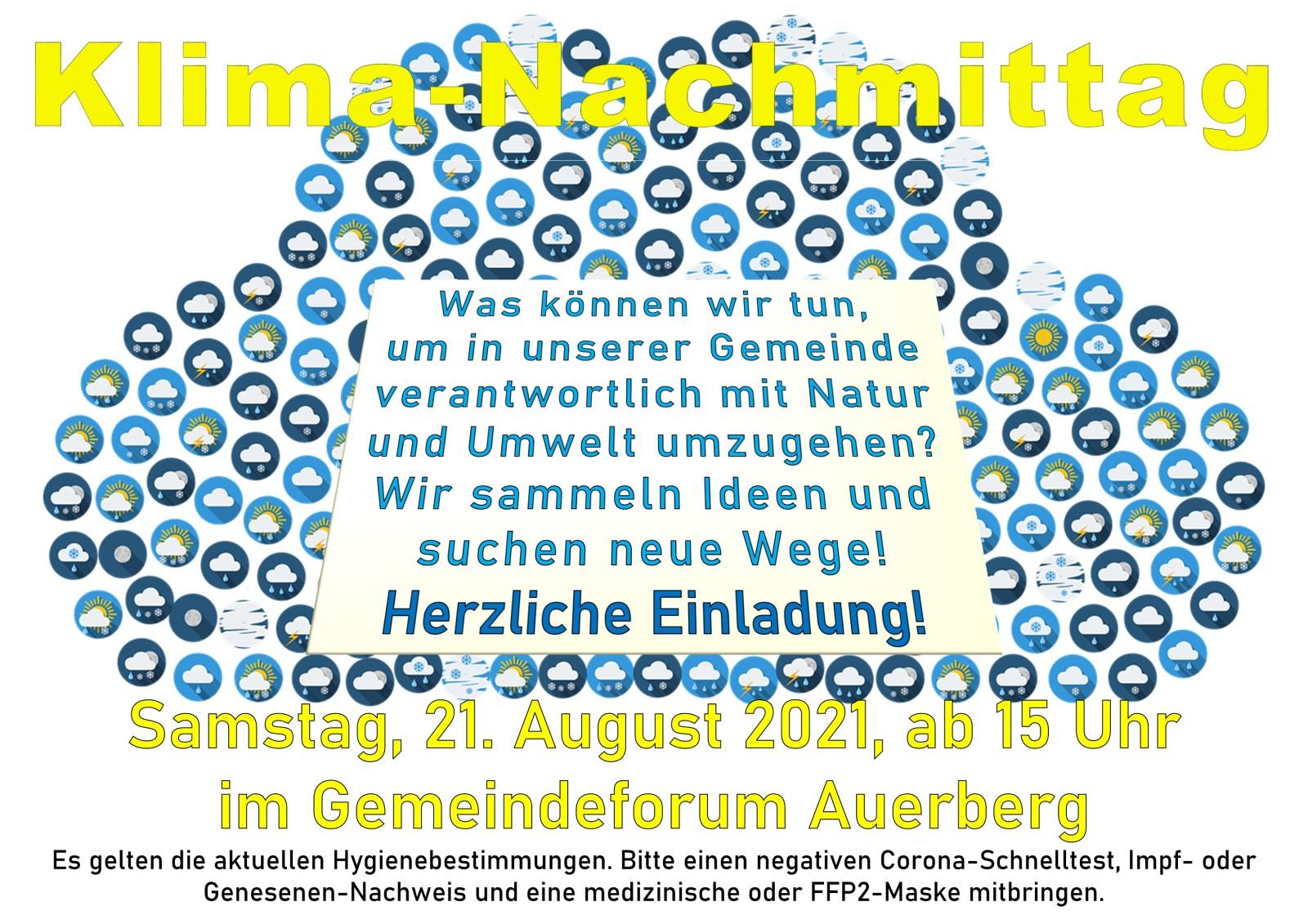 Klima-Nachmittag am Samstag, 21. August 2021, ab 15 Uhr im Gemeindeforum Auerberg